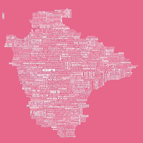 Devon Map - Rose