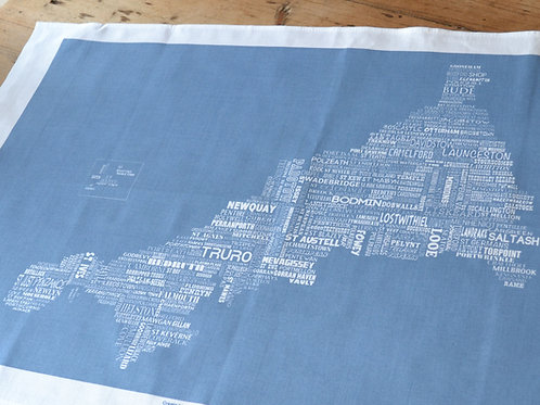NEW! Cornwall Map Tea Towel - Storm