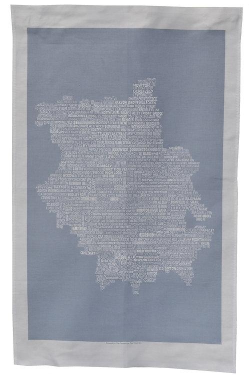 Cambridgeshire Map Tea Towel - Grey