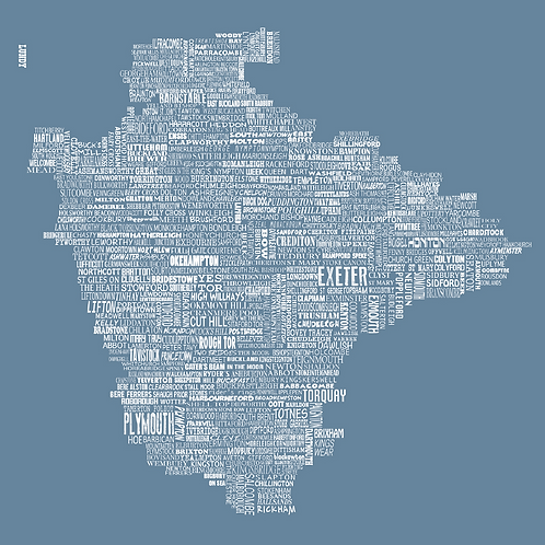 Greeting Card Devon Map - Blue