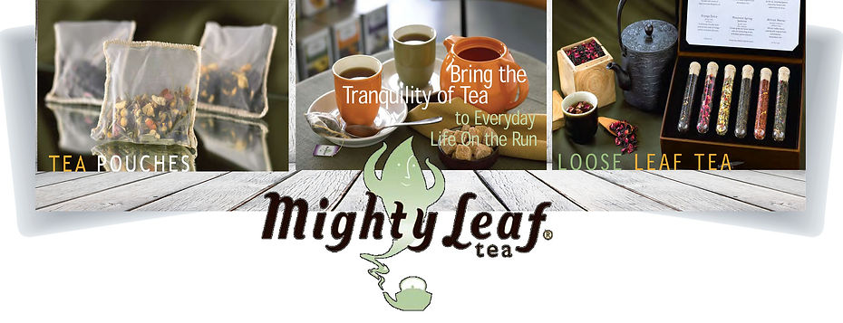 Cups of tea and packaged tea leaves
