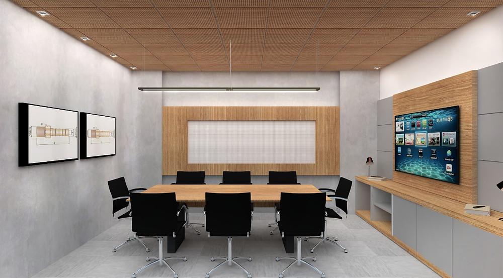 Forro acústico em madeira perfurada OWA para garantir melhor aproveitamento acústico nas reuniões