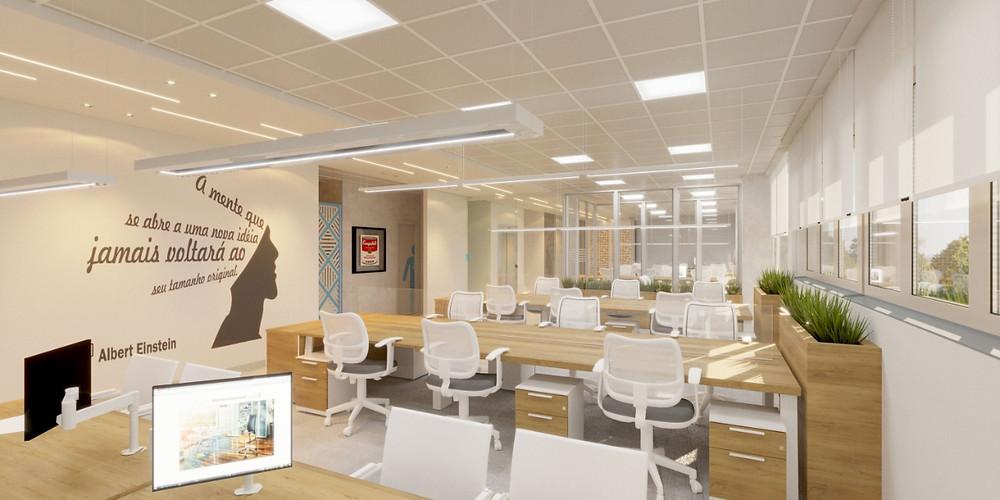 Escritório administrativo com visual open space mas com conforto acústico garantido por divisórias de vidro