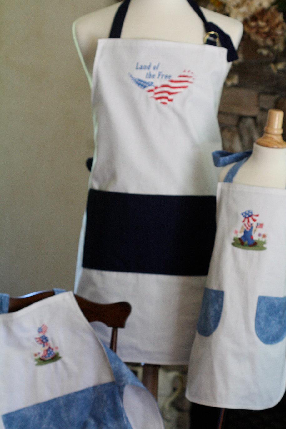 White apron brighton - Red White Blue Set