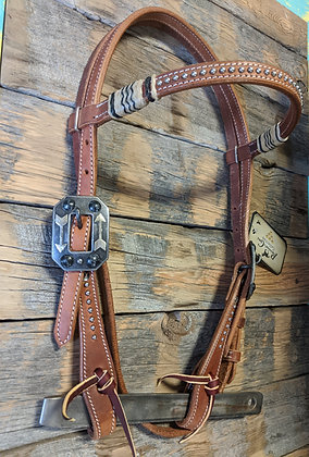 Pro Choice Headstall w rawhide black accent and feather Buckle