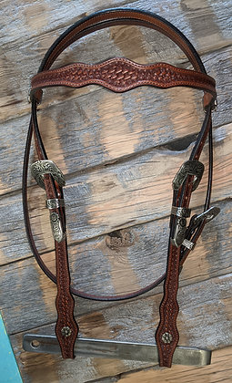 Handmade Browband headstall w hand engraved hardware