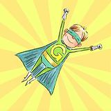 Captan Green, a superhero, flying