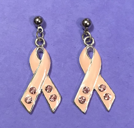 Pink Rhinestone Ribbon Earrings