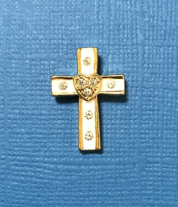 White and Gold Cross Pin