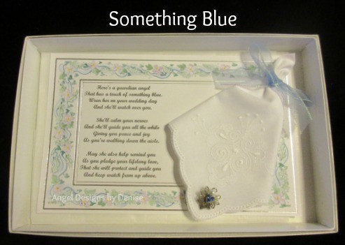 Something Blue Hankie & Angel Pin Set