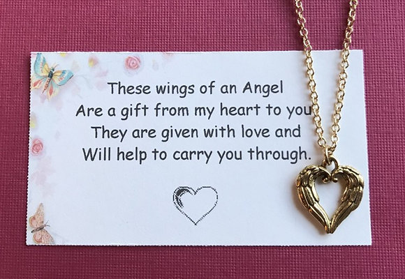 Heart Shaped Angel Wing Pendant & Card Set