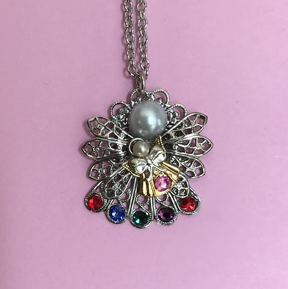 Mother and Child Birthstone Angel Necklace #250PN