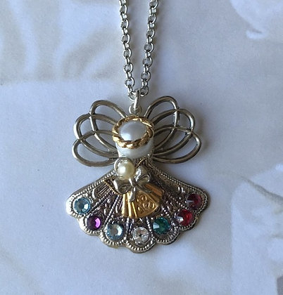 Mother and Child Birthstone Angel Necklace #251PN