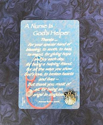 A Nurse is God's Helper Angel Pin Set