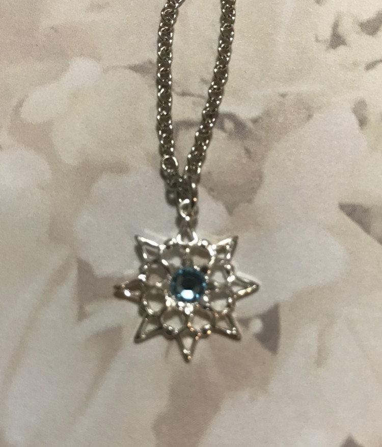 cb0ada6826358 Aquamarine Single Stone Snowflake Necklace #846NAQUA | angeldesignsbydenise