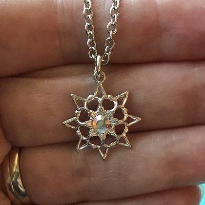 Aurora Borealis Single Stone Snowflake Necklace #846NAB