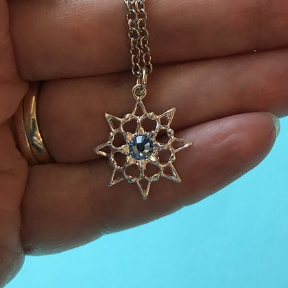 Light Blue Single Stone Snowflake Necklace #846NLTBLUE