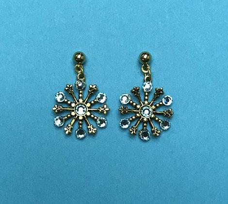 Aquamarine Small Snowflake Earring #844EAQUA