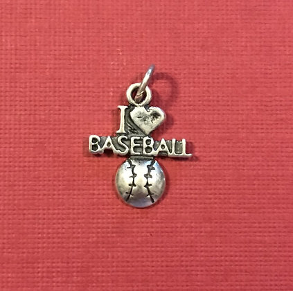 I Love Baseball Sterling Silver Charm