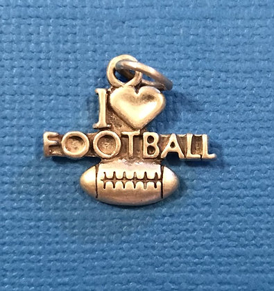 I Love Football Sterling Silver Charm