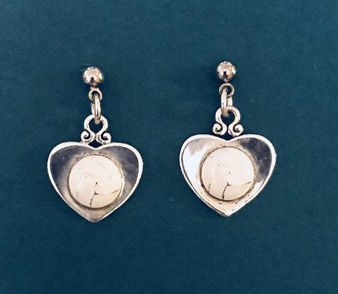 Enameled Heart Volleyball Earrings