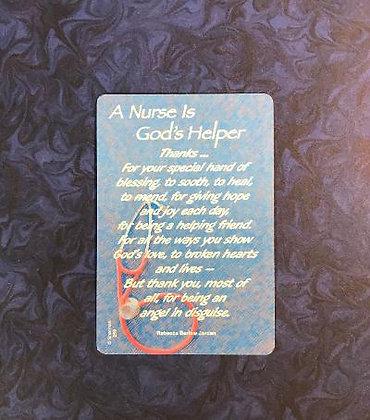A Nurse is God's Helper Poem Card
