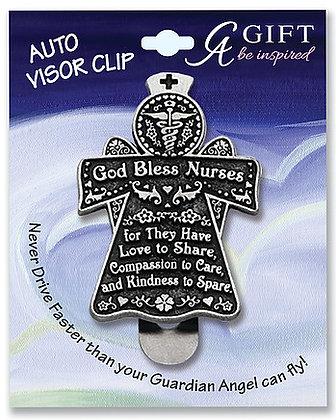 God Bless Nurses Visor Clip