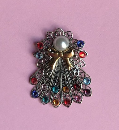 Double Skirted Birthstone Angel Pin (12 stones on skirts) #241