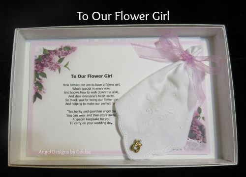To Our Flower Girl Hankie & Guardian Angel Pin Gift Set