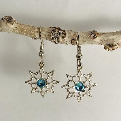 Aquamarine Single Stone Snowflake Earrings #846EAQUA