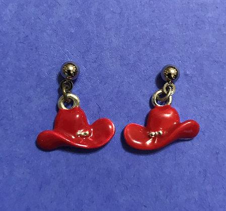 Tiny Red Hat Pierced Earrings