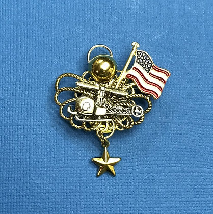 Helicopter Gold Star Mother's Angel Pin #781