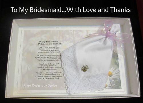To My Bridesmaid Hankie & Angel Pin Gift Set