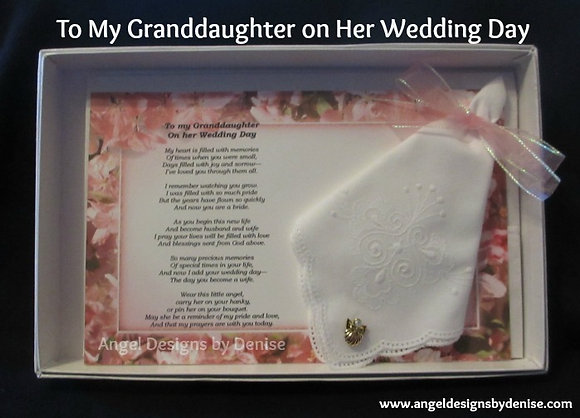 To My Granddaughter on Her Wedding Day Hankie  Angel Pin Set