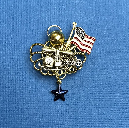 Helicopter Blue Star Mother's Angel Pin #781