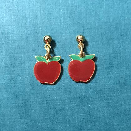 Red Apple Pierced Earrings