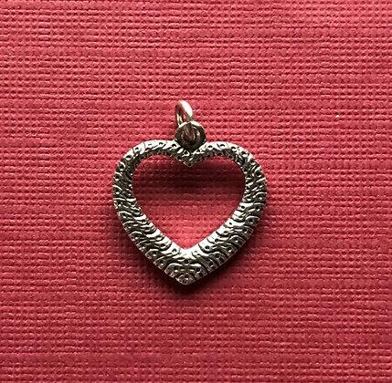 Antique Silver Open Heart Charm