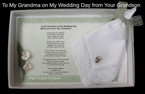 To My Grandma From Your Grandson On My Wedding Day Hankie & Angel Pin Gift Set