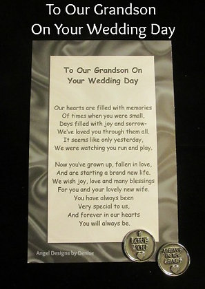 To My or Our Grandson on Your Wedding Day Token Set