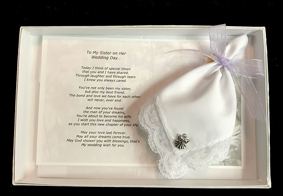 To My Sister on Her Wedding Day Hankie & Angel Pin Gift Set