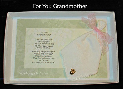 For You Grandmother Hankie & Angel Pin Gift Set
