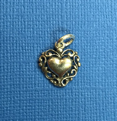 Sterling Silver Solid Heart with Scrolling Charm