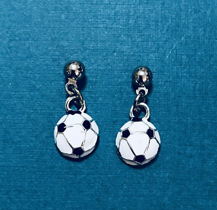 Enameled Soccer Ball Earrings
