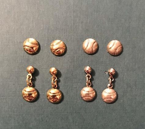 Tiny Baseball--Softball Earrings