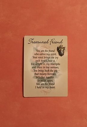 Treasured Friend Poem and Guardian Angel Pin Set #104