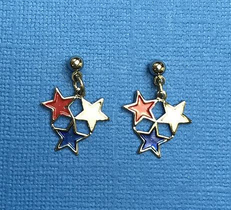 Stars Patriotic Pierced Earrings #155