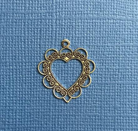 Silver Lacy Open Heart Charm