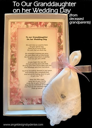 **To Our Granddaughter On Her Wedding Day(from Deceased Grandparents)