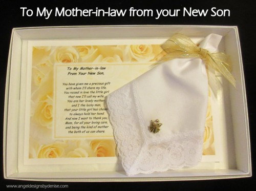 To My Mother-in-law From Your New Son Hankie & Angel Pin  Gift Set