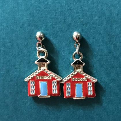 Red Enameled School House Earrings